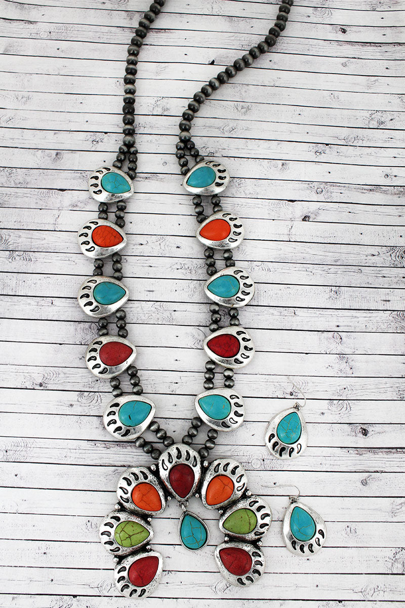 Multi-Color Beaded Bear Paw Squash Blossom Necklace and Earring Set