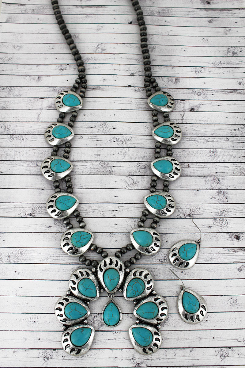 Turquoise Beaded Bear Paw Squash Blossom Necklace and Earring Set