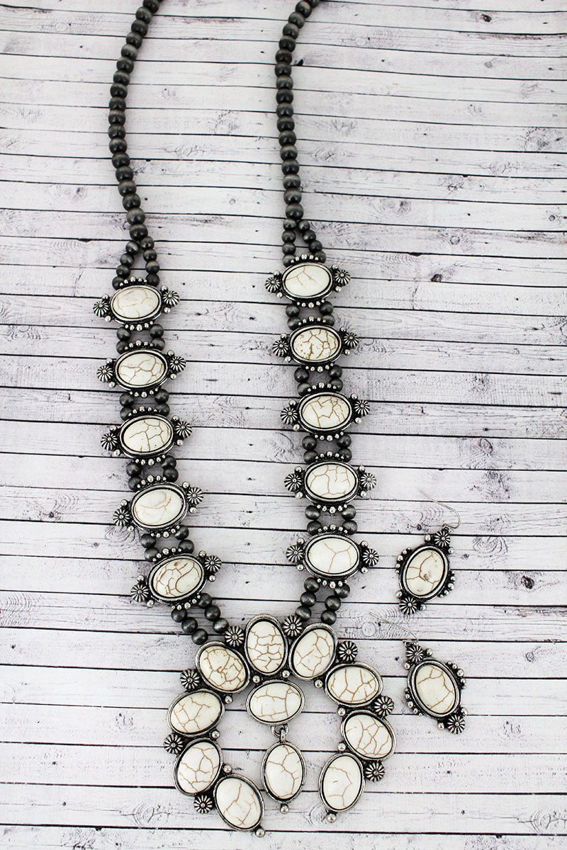 White Beaded Silvertone Naja Necklace and Earring Set