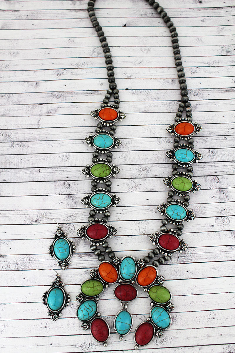 Multi-Color Beaded Silvertone Naja Necklace and Earring Set