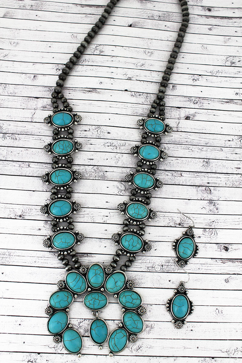 Turquoise Beaded Silvertone Naja Necklace and Earring Set