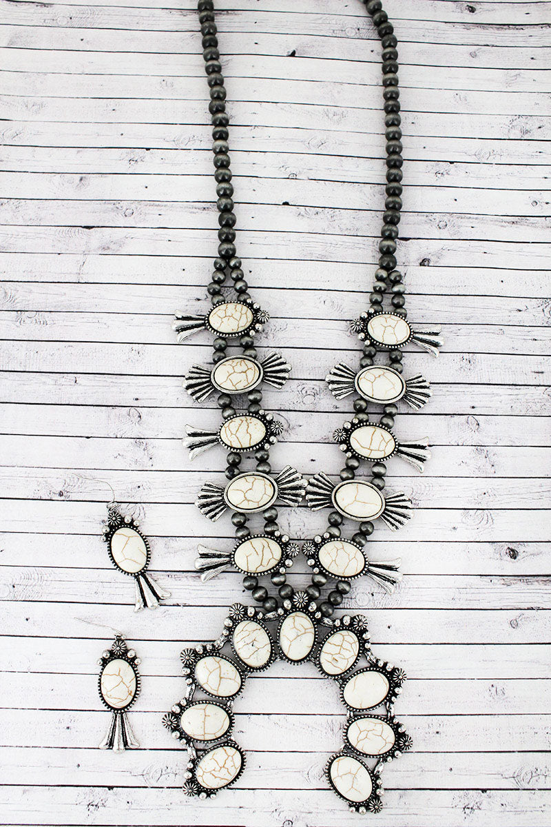 White Beaded Squash Blossom Silver Navajo Pearl Necklace and Earring Set