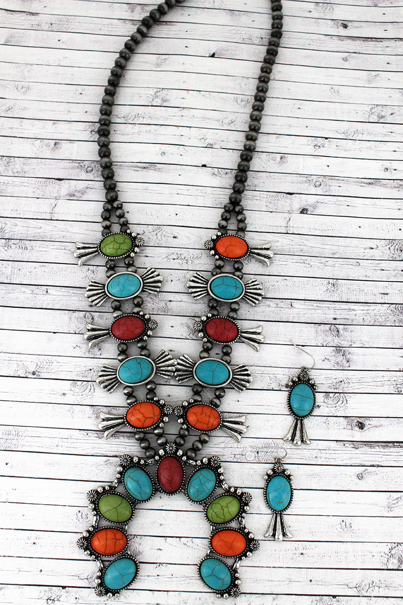 Multi-Color Beaded Squash Blossom Silver Navajo Pearl Necklace and Earring Set