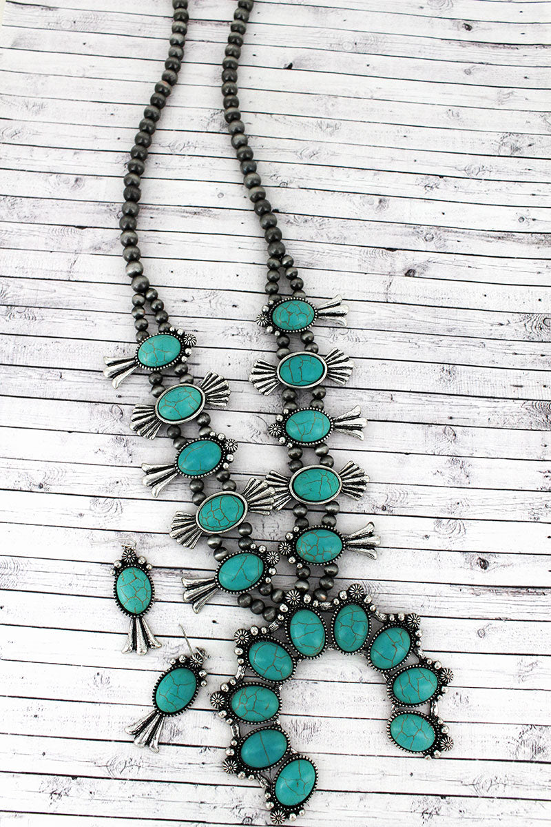 Turquoise Beaded Squash Blossom Silver Navajo Pearl Necklace and Earring Set