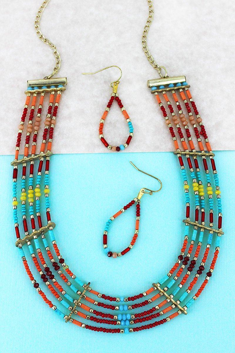 Multi-Color and Gold Seed Bead Multi-Strand Necklace and Earring Set