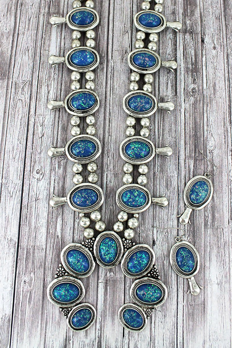 Burnished Silvertone and Blue Opal Squash Blossom Necklace and Earring Set