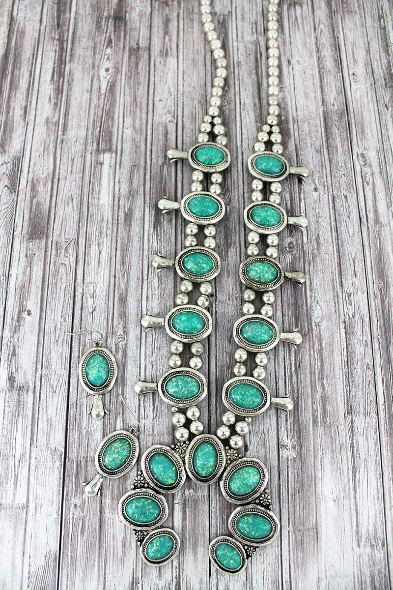 Burnished Silvertone and Turquoise Opal Squash Blossom Necklace and Earring Set