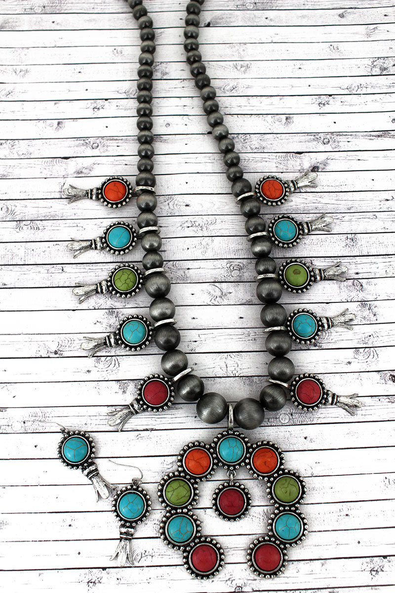Multi-Color Beaded Squash Blossom Charm Necklace and Earring Set