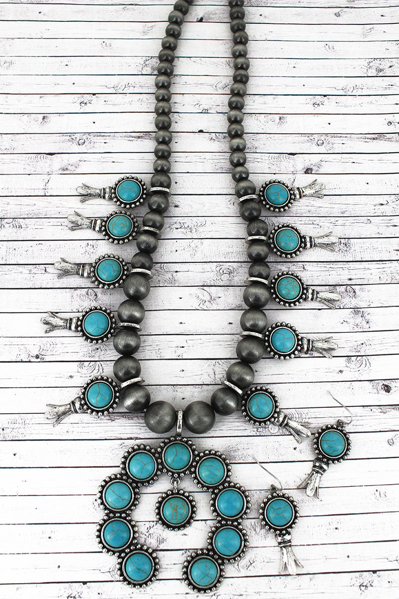 Turquoise Beaded Squash Blossom Charm Necklace and Earring Set