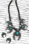Turquoise Beaded Silvertone Naja Charm Necklace and Earring Set