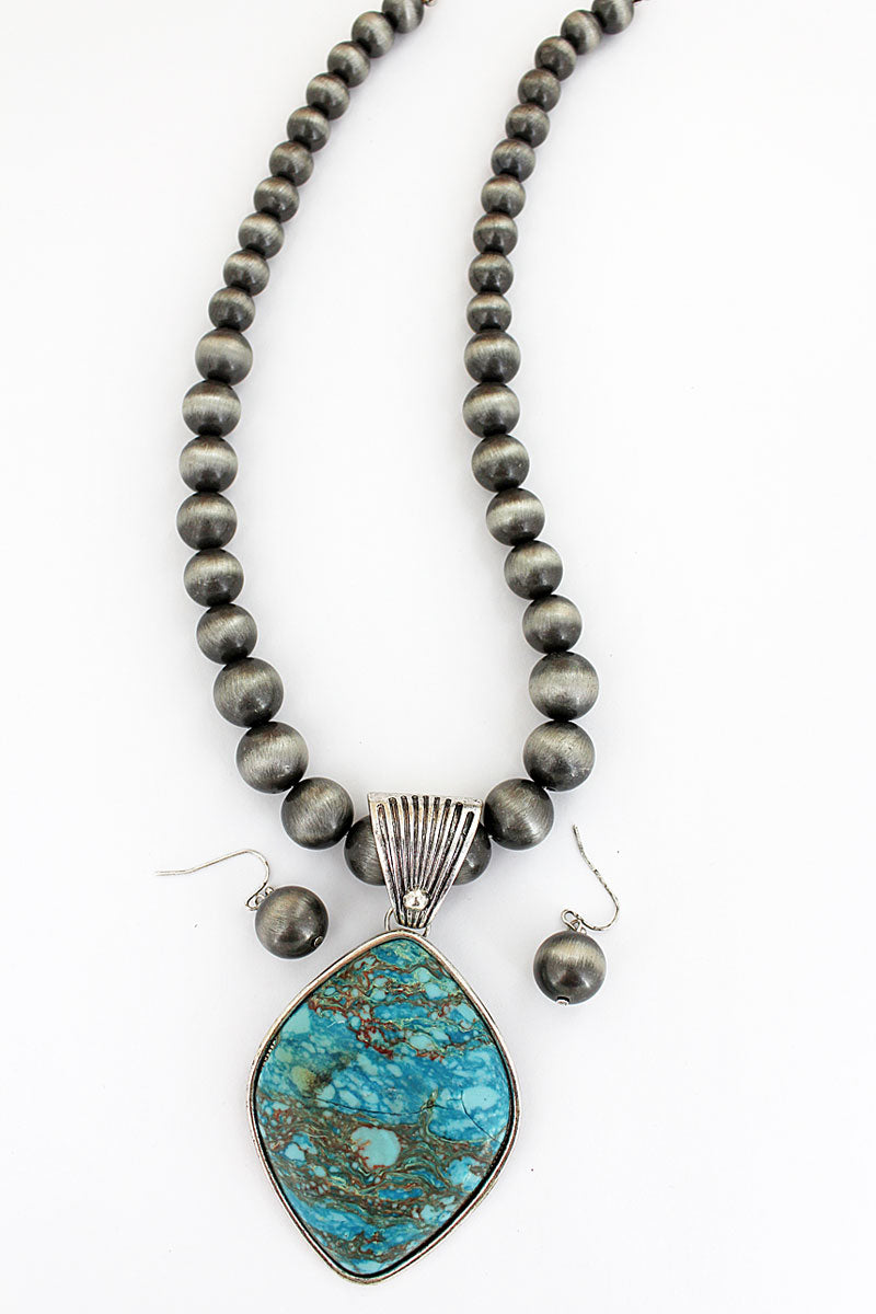 Silvertone and Turquoise Diamond Navajo Pearl Necklace and Earring Set