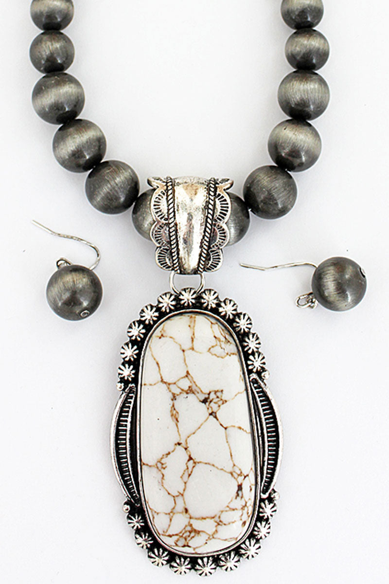 Silvertone Framed Howlite Oval Navajo Pearl Necklace and Earring Set