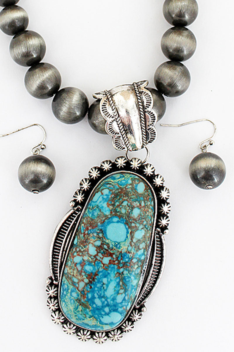 Silvertone Framed Turquoise Oval Navajo Pearl Necklace and Earring Set