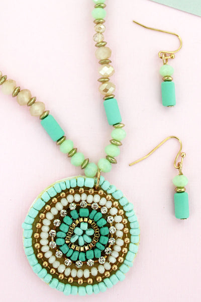 Mint Bead and Crystal Concentric Disk Necklace and Earring Set
