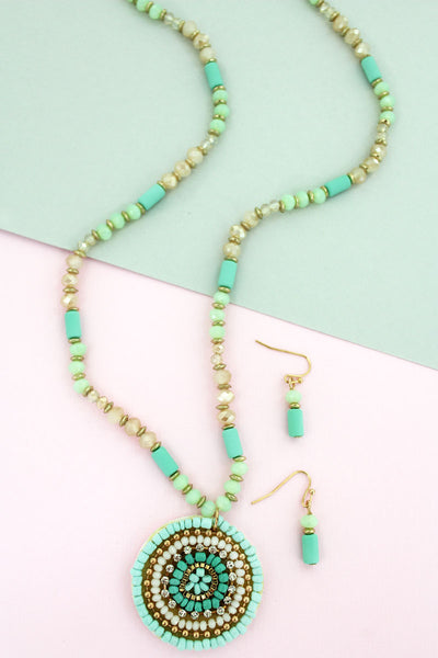 SALE! Mint Bead and Crystal Concentric Disk Necklace and Earring Set