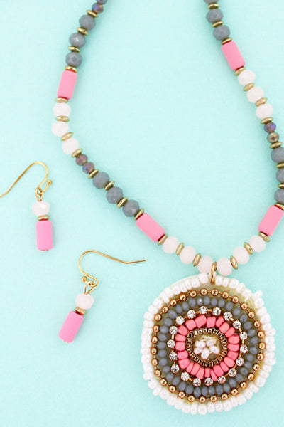 Pink Bead and Crystal Concentric Disk Necklace and Earring Set