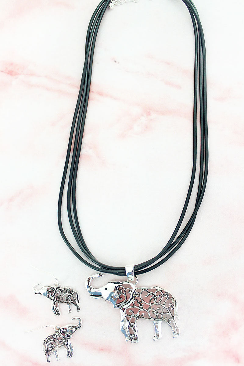 Silvertone Marcasite Elephant Multi-Cord Necklace and Earring Set