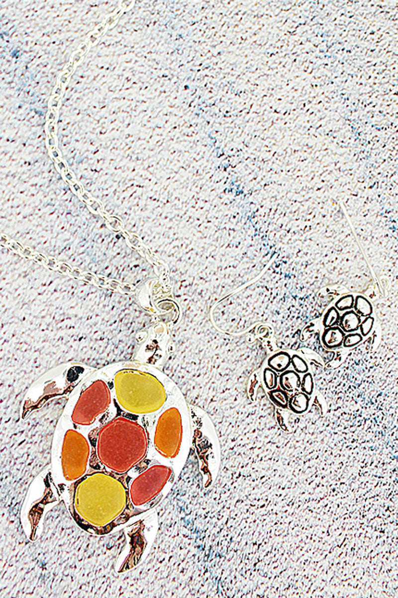 Pink Tri-Color Sea Glass Turtle Silvertone Necklace and Earring Set