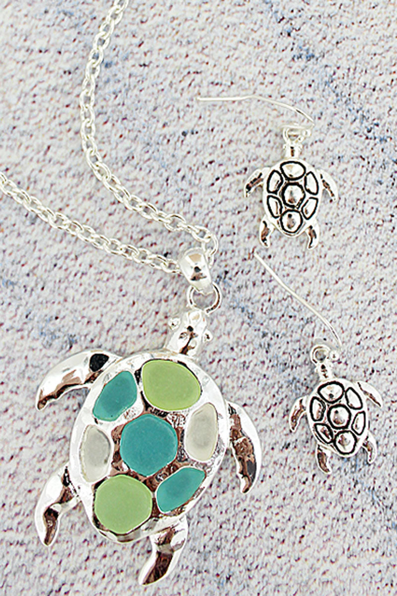 Turquoise Tri-Color Sea Glass Turtle Silvertone Necklace and Earring Set