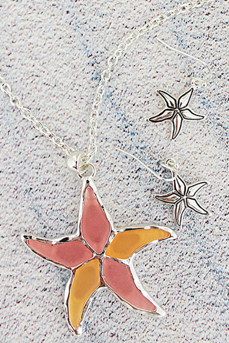Pink and Orange Sea Glass Starfish Silvertone Necklace and Earring Set