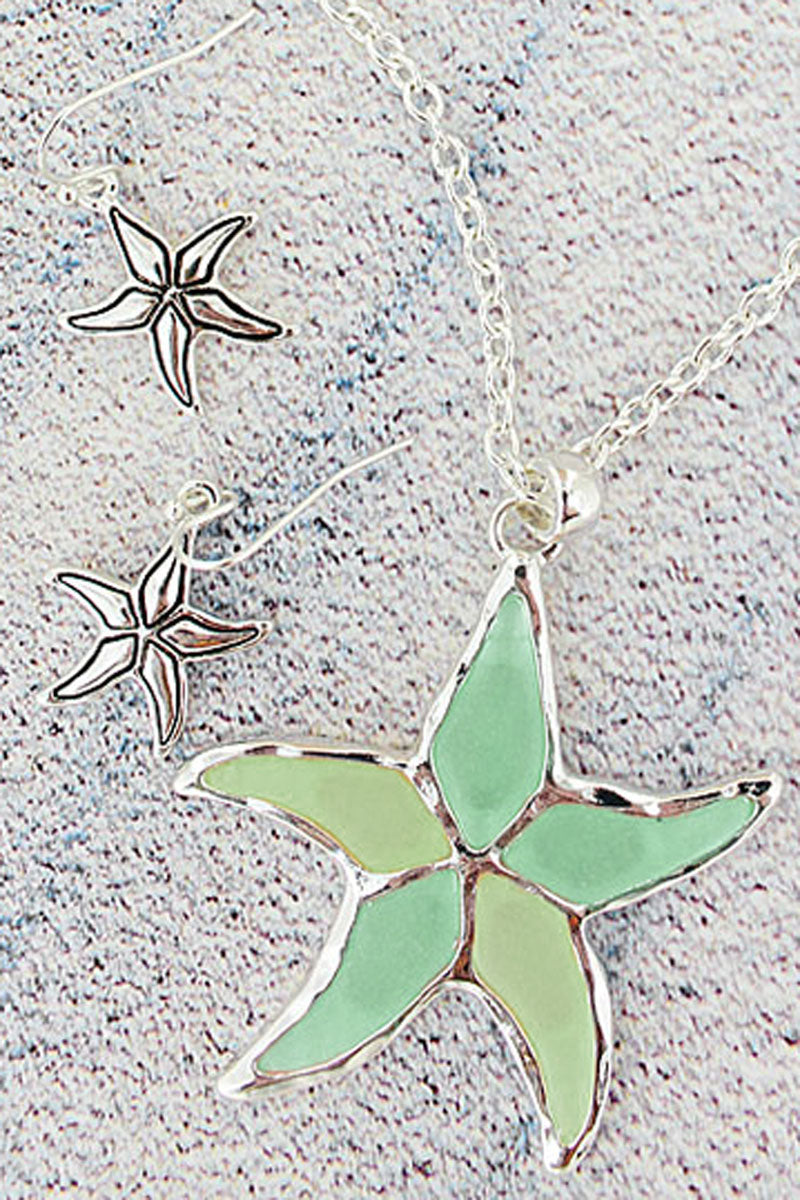 Turquoise and Pale Yellow Sea Glass Starfish Silvertone Necklace and Earring Set