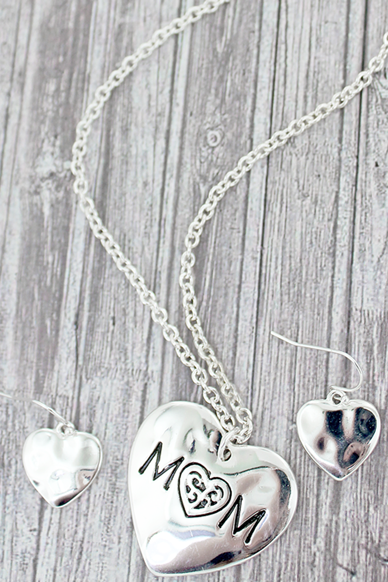 Silvertone Mom Double-Sided Heart Necklace and Earrings Set