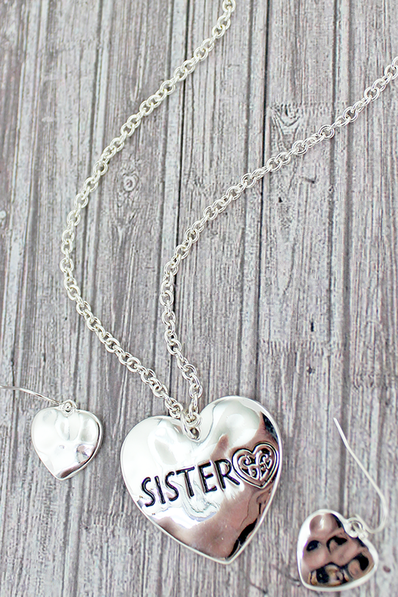 Silvertone Sister Double-Sided Heart Necklace and Earrings Set
