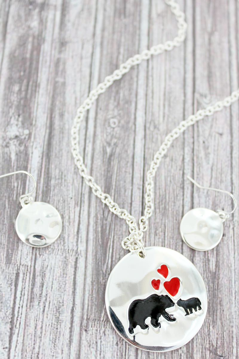 Silvertone Mama Bear Double-Sided Disk Necklace and Earrings Set