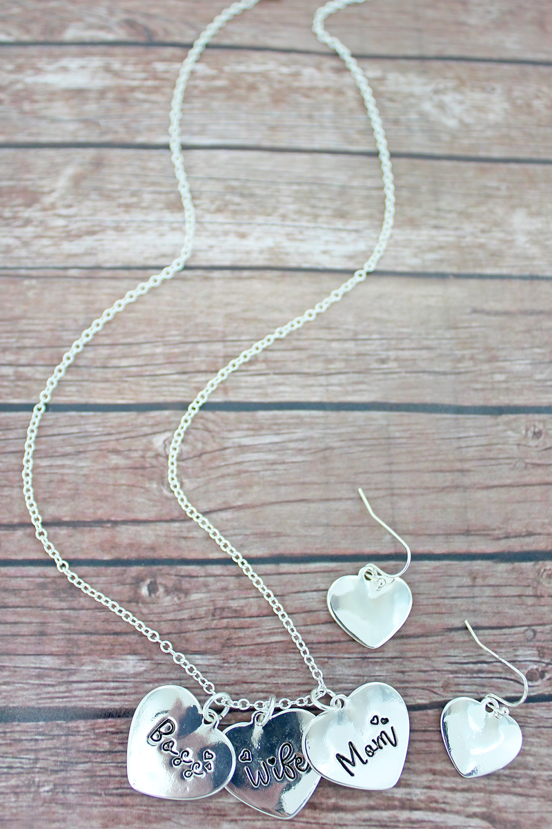 Silvertone 'Mom, Wife, Boss' Heart Necklace and Earrings Set