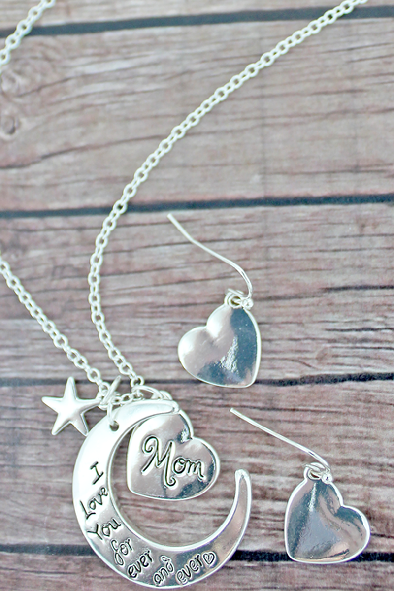 Silvertone 'I Love You' Crescent Moon Necklace and Earrings Set