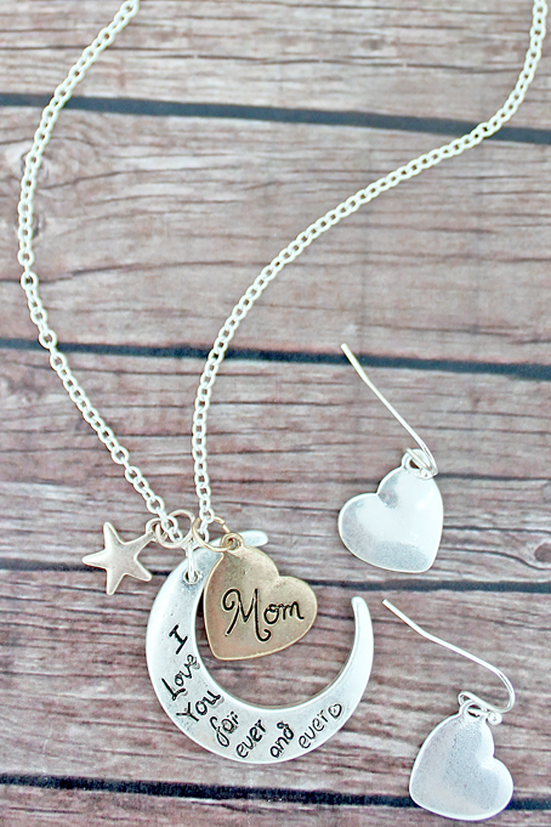 Tri-Tone 'I Love You' Crescent Moon Necklace and Earrings Set
