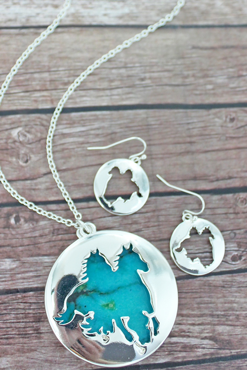 Cut-Out Horses and Turquoise Pendant Necklace and Earring Set