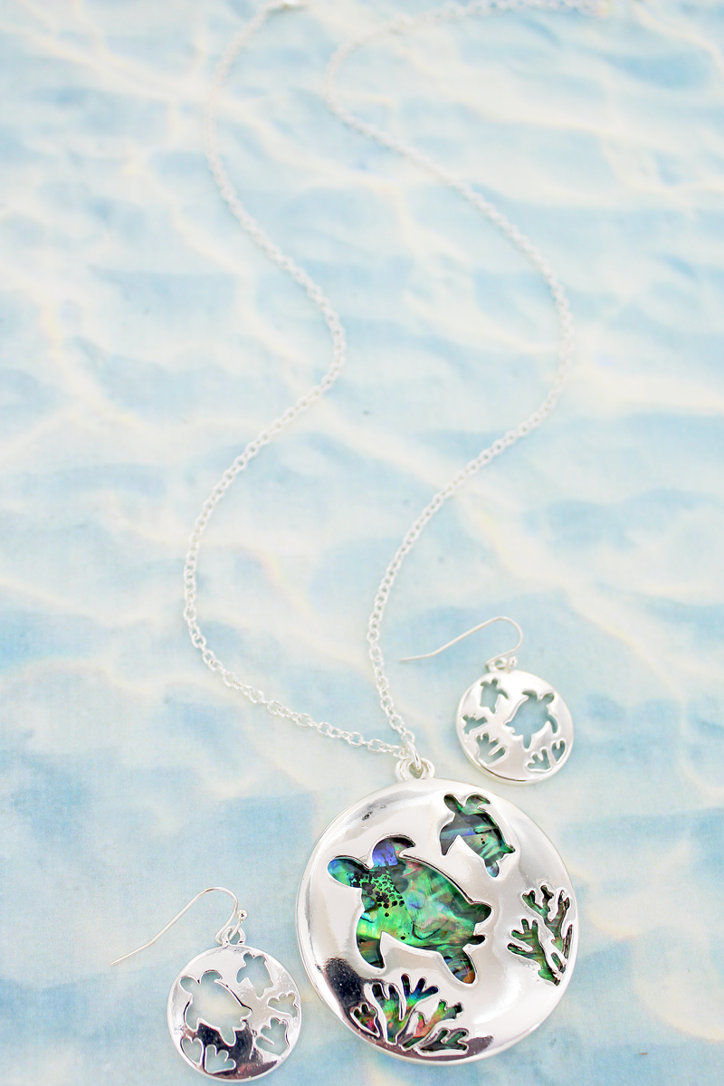 Cut-Out Turtle and Abalone Pendant Necklace and Earring Set