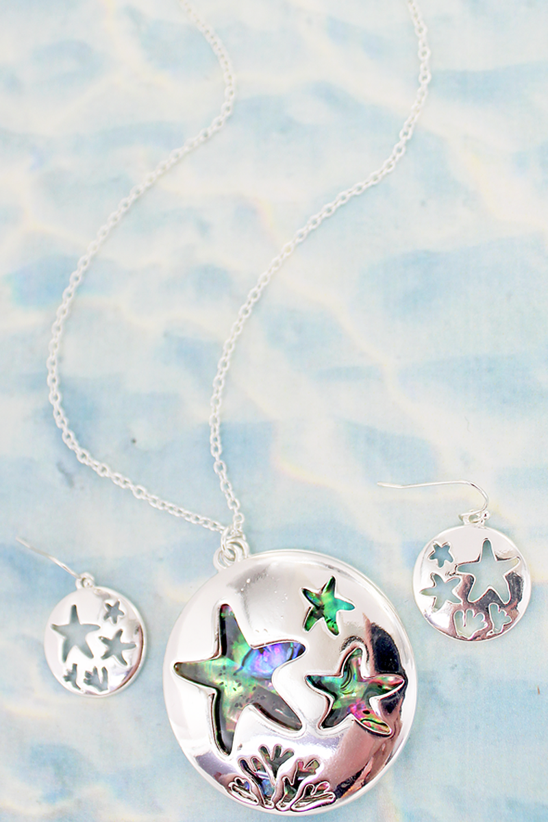 Cut-Out Starfish and Abalone Pendant Necklace and Earring Set
