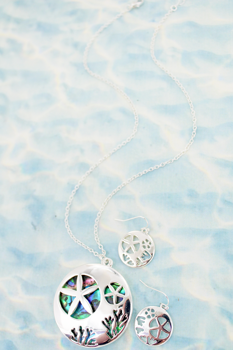Cut-Out Sand Dollar and Abalone Pendant Necklace and Earring Set