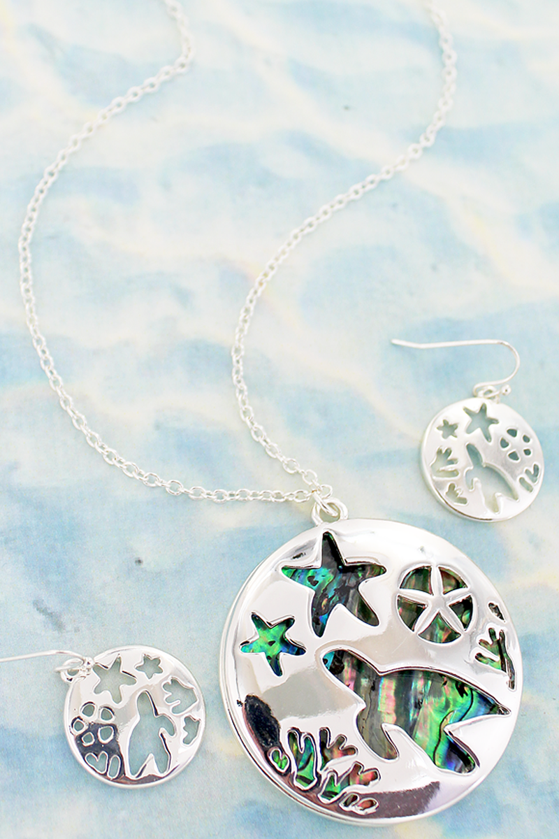 Cut-Out Sea Life and Abalone Pendant Necklace and Earring Set