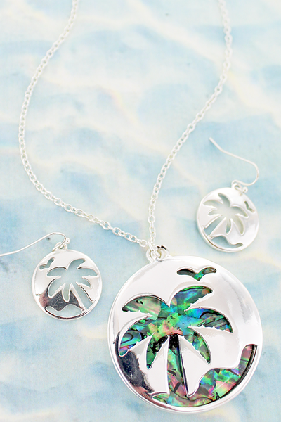 Cut-Out Palm Tree and Abalone Pendant Necklace and Earring Set