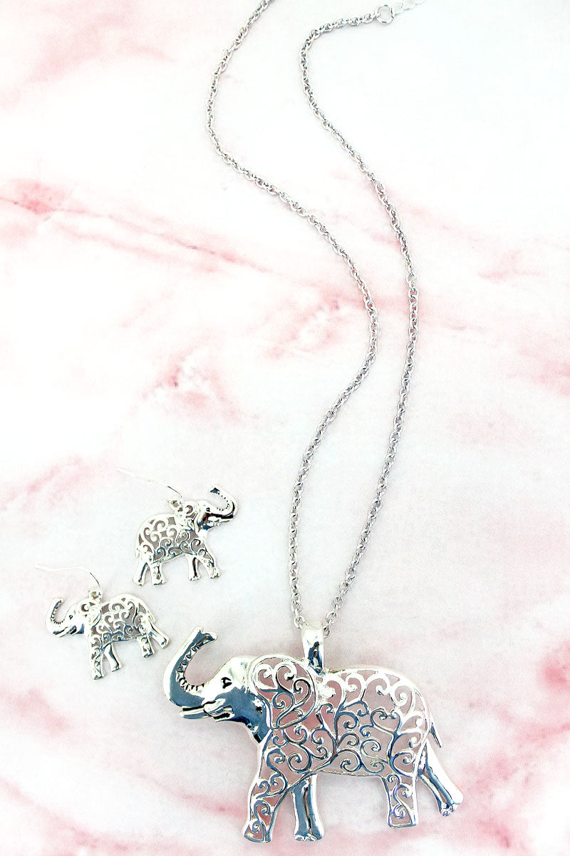 Silvertone Scroll Filigree Elephant Necklace and Earring Set