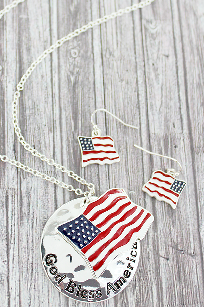 USA Flag and 'God Bless America' Disk Pendant Necklace and Earrings Set