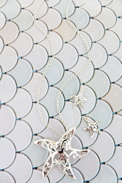 Silvertone Scroll Cut-Out Starfish Necklace and Earring Set