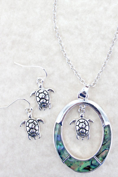 Abalone and Silvertone Turtle Charm Oval Necklace and Earring Set