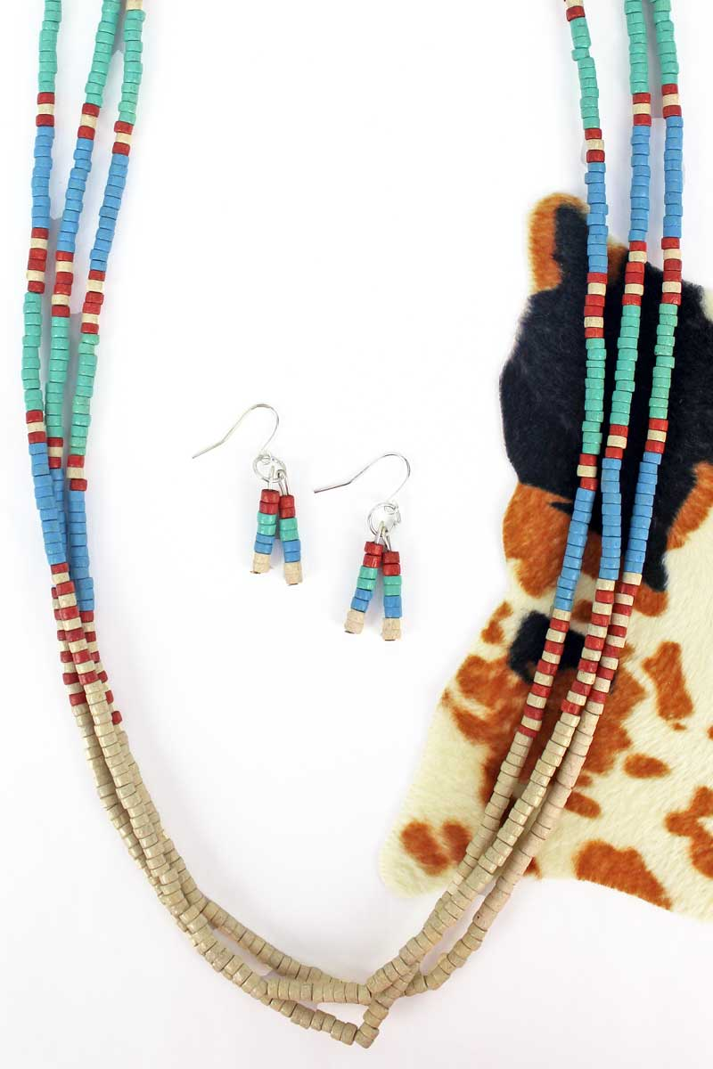 Layered Ivory Multi-Color Wood Beaded Necklace and Earring Set