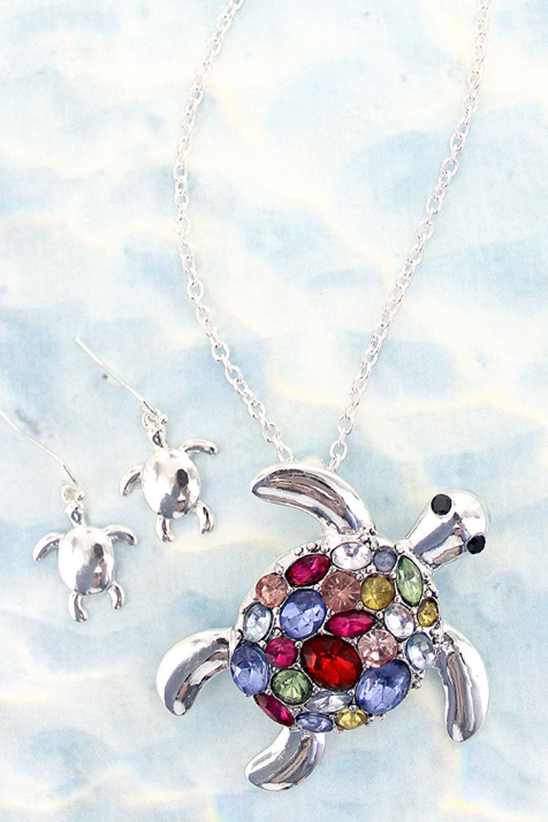 Multi-Color Gemstone and Silvertone Turtle Necklace and Earring Set