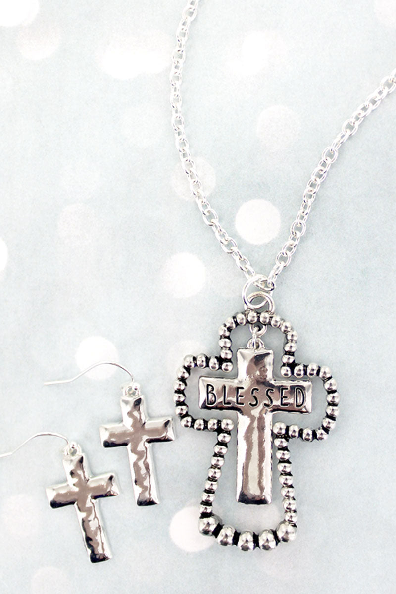 Silvertone Beaded 'Blessed' Double Cross Necklace and Earring Set