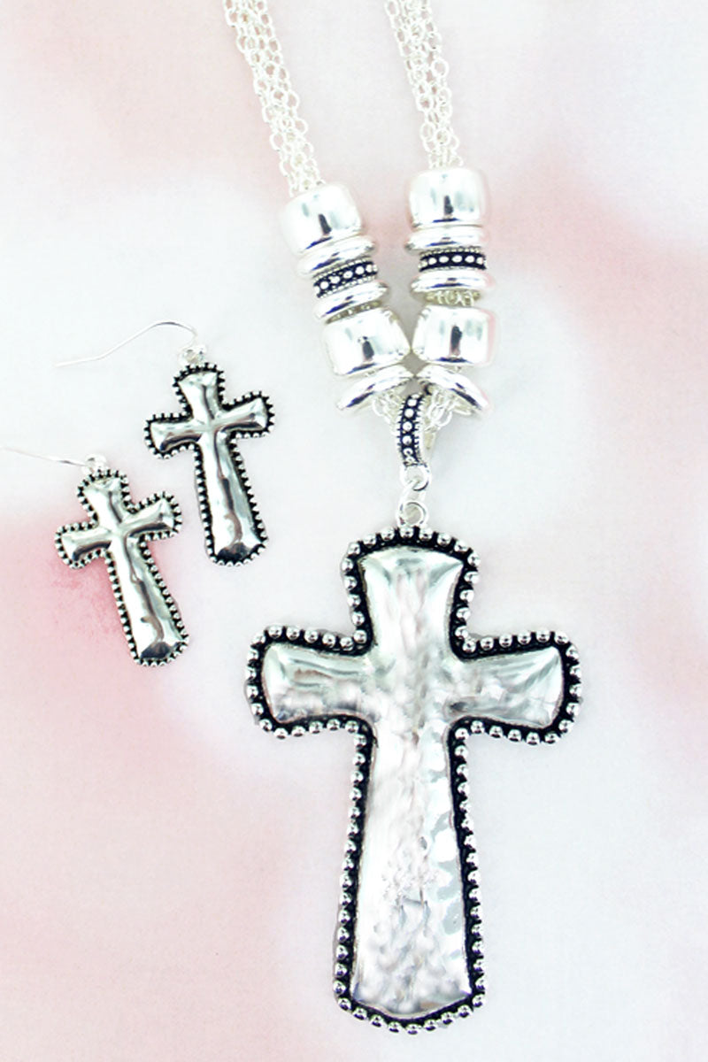 Silvertone Bead Trimmed Hammered Cross Necklace and Earring Set