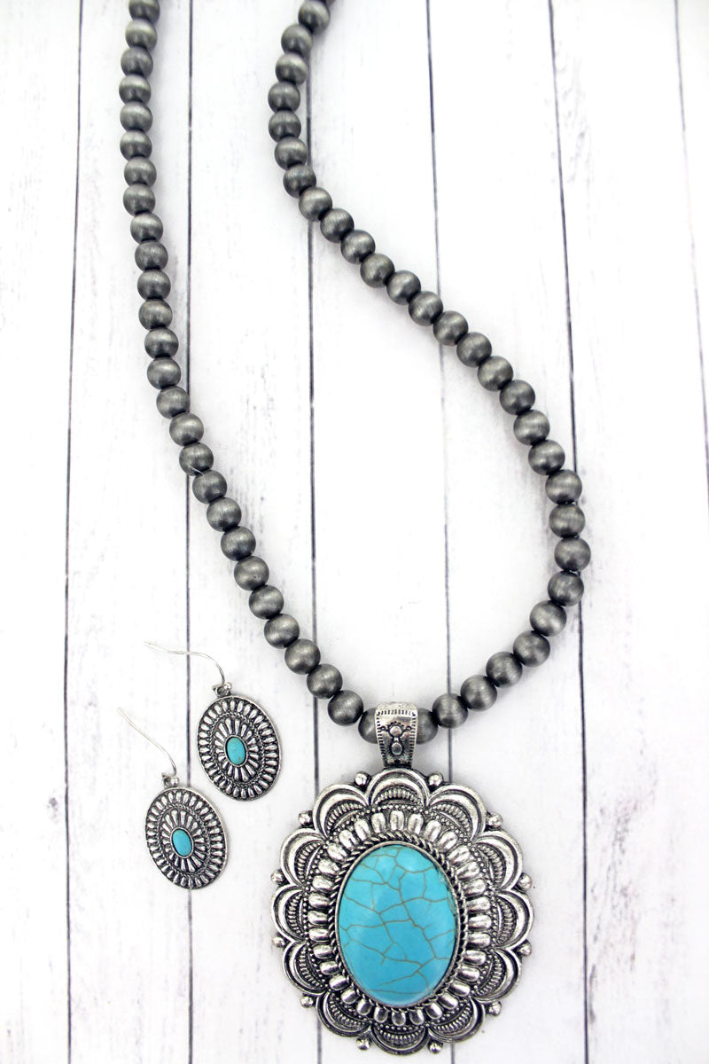 Turquoise Oval Concho Silver Navajo Inspired Pearl Necklace and Earring Set