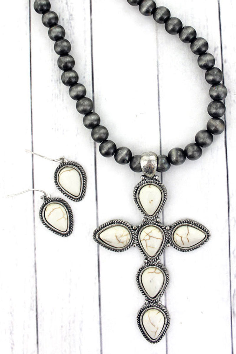 Howlite Teardrop Cross Silver Navajo Inspired Pearl Necklace and Earring Set