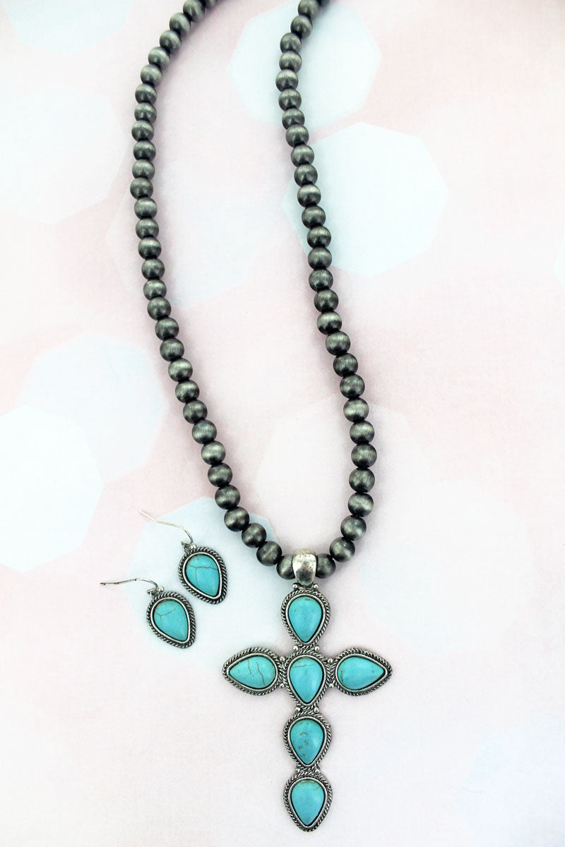 Turquoise Teardrop Cross Silver Navajo Inspired Pearl Necklace and Earring Set