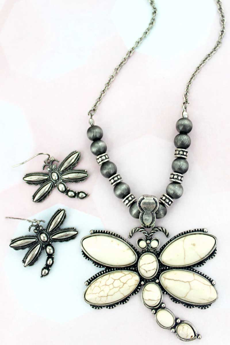 Howlite Stone Dragonfly Silvertone Necklace and Earring Set