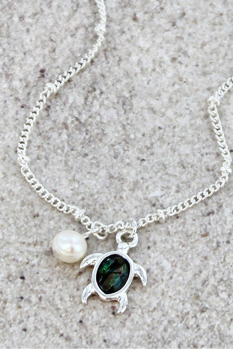 Silvertone and Abalone Turtle Charm Anklet